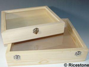 coffret bois naturel 24x28x6 sans compartiments pour bijouterie antiquaire brocanteur. Black Bedroom Furniture Sets. Home Design Ideas
