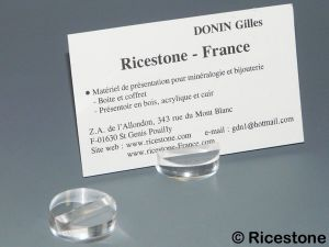 0a) Petit socle-support acrylique, porte-carte de visite.