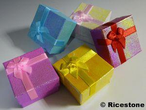 Image Boite Cadeau boîte cadeau pour bague en carton recouvert, écrin de présentation