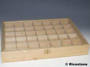 Coffret pour objets bijoux mineraux brocante antiquite - Casiers de rangement en bois ...