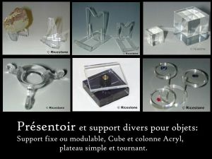 3) PRESENTOIR, SUPPORT, Collection, minéraux...